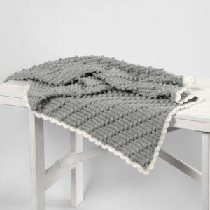 Hæklet tæppe med diagonale bobler