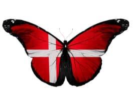 Der er et yndigt land - Danmarks nationalsang - Sommerfugl med Dannebrog