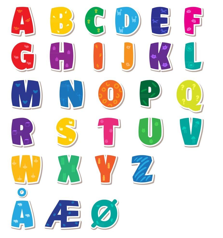Det danske alfabet inkusiv æøå